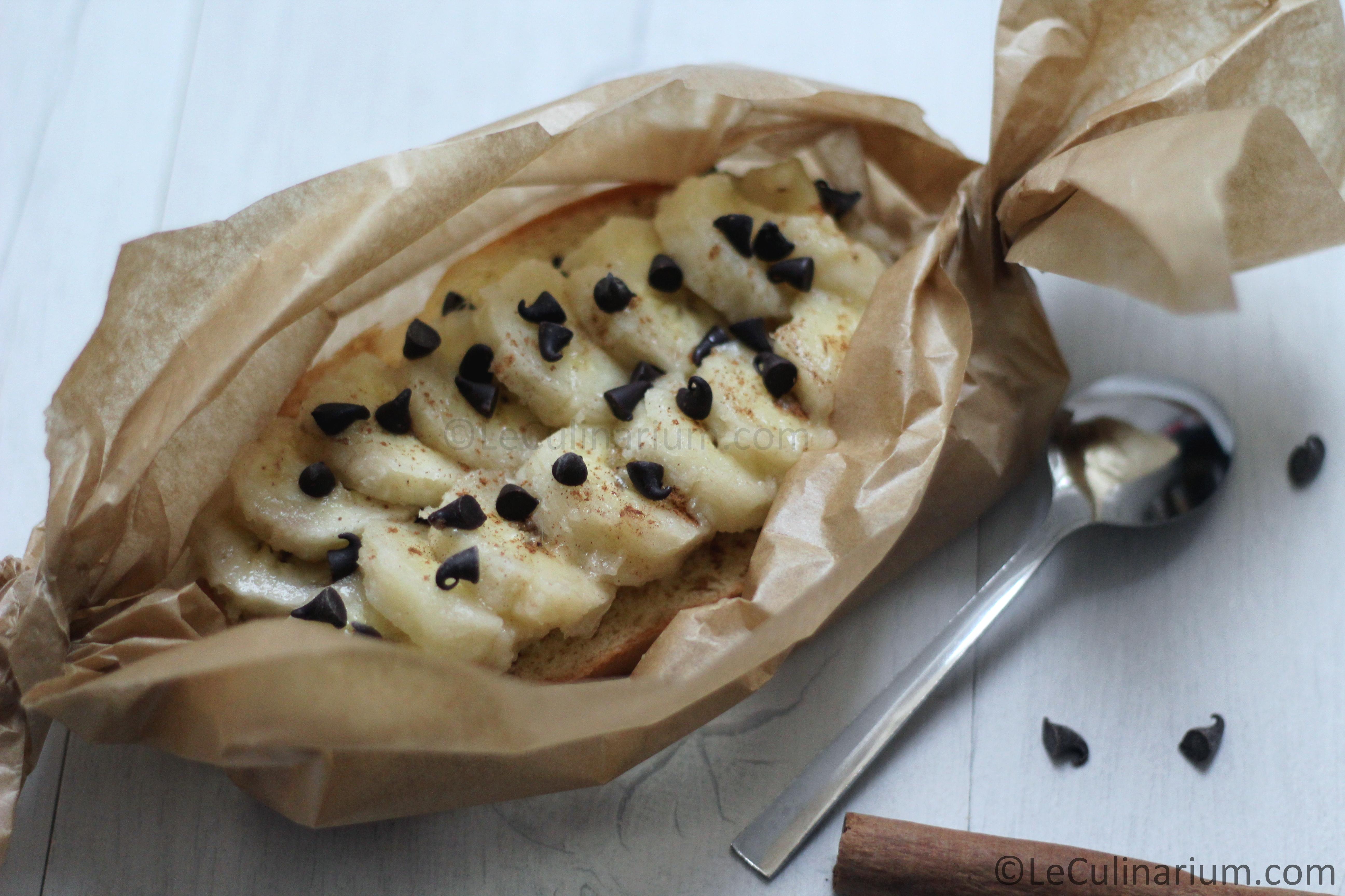 Papillotes banane brioche canelle et chocolat Copyright Le Culinarium