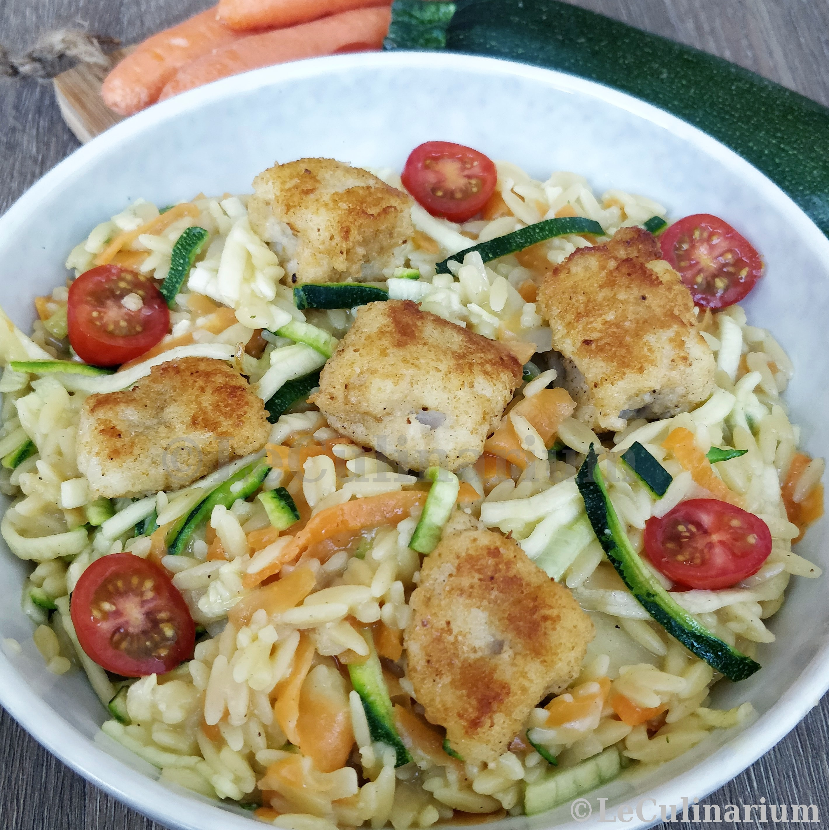 Copyright Le Culinarium Tagliatelles légumes risetti poisson pané_vdef